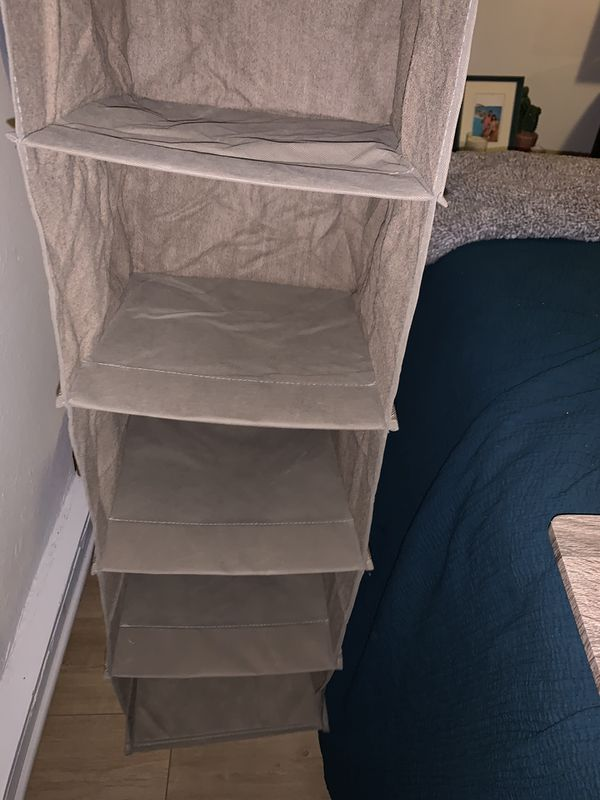 New 6 shelf hanging closet organizer fawn/ light brown