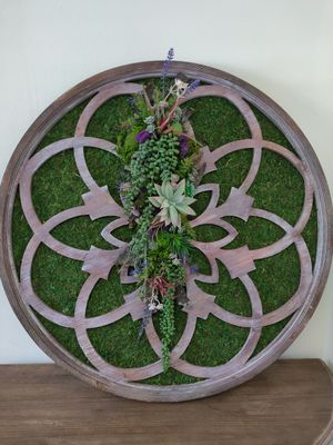 Artificial succulents on wooden mandala for Sale in Bolingbrook, IL