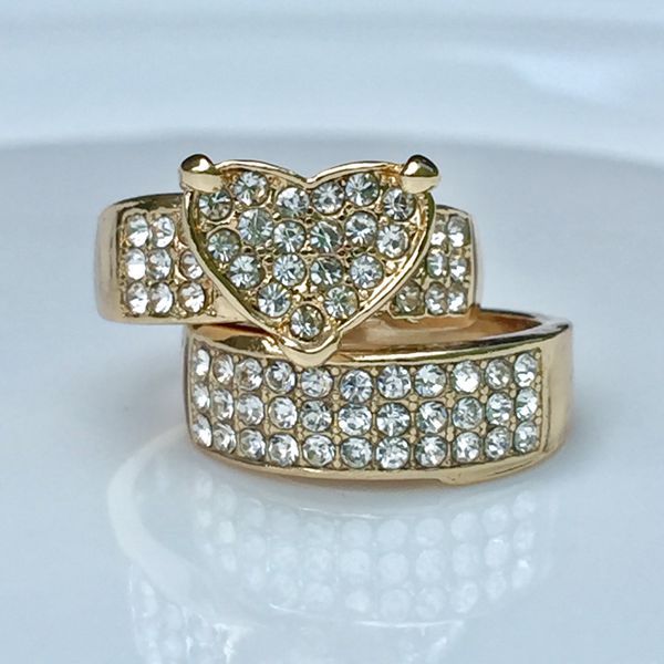18k gold plated ring band set white sapphire size 6,7,8