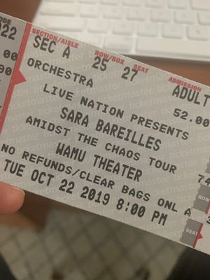 Sara bareilles 10/22 for Sale in Seattle, WA