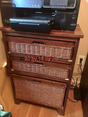 Wicker and wood 3 drawer cabinet with organized files for Sale in Gibsonia, PA