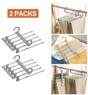 Pants Hangers 5 Layers Stainless Steel Non-Slip Space Saving Clothes Closet Storage Organizer for Pants Jeans Trousers Skirts Scarf for Sale in Katy, TX