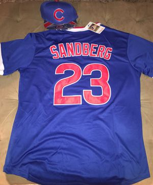 Sandberg Cubs baseball jersey large/XL available brand new with hat$40 for Sale in North Riverside, IL