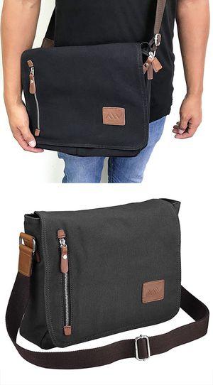 "New $20 Men Women 14"" Vintage Canvas Cross Body Schoolbag Satchel Shoulder Messenger Bag (Black) for Sale in South El Monte, CA"