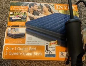 Intex air mattress 2 queen size with hand pump for Sale in Ellicott City, MD
