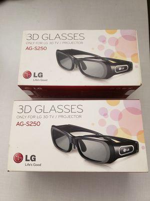 Pair (2) LG AG-S250 3D Active Shutter Glasses for 2011 LG 3D Plasma HDTVs for Sale in San Jose, CA