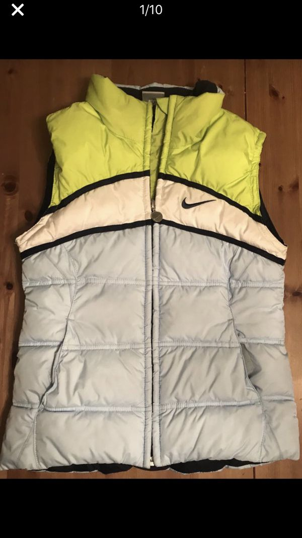 Nike Kids Lime Green Pocketed Full-Zip Down Puffer Vest Size L 10-12 Fall/winter clothes