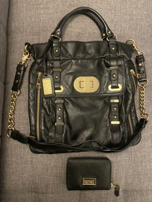 Badgley Mischka black leather gold chain bag and wallet set for Sale in Bellevue, WA