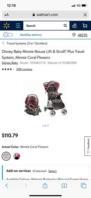 Minnie mouse car seat and stroller set for Sale in Colorado Springs, CO