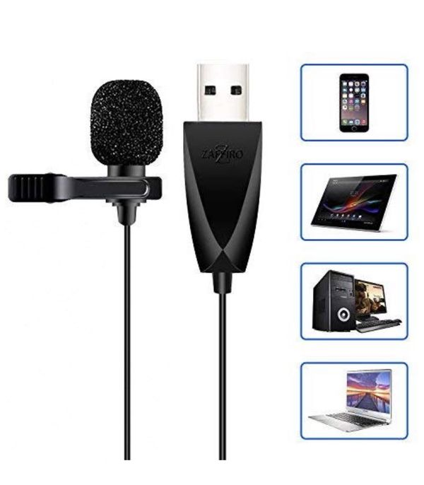 USB Microphone, Z ZAFFIRO Lavalier Mic Lapel Clip on Microphone for Computer PC, Laptop, Mac,MacBook,PS4. Perfect for Video Yutube Recording,Intervie