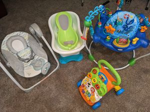 Baby stuff! Jumper, swing, tub and walker for Sale in Alpharetta, GA