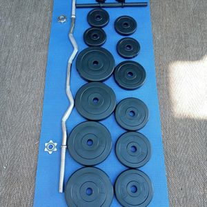 adjuntable dumbbell weight set 40lbs total. pius curl bar for Sale in Long Beach, CA
