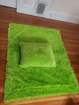 Large lime green throw blanket and pillow for Sale in Watertown, MA