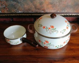 Countryside collection enamel cookware pots clean used, all shown asking $15 for Sale in Middletown, NJ
