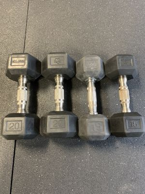 Rubber Hex Dumbbells 15's and 20's for Sale in Tualatin, OR