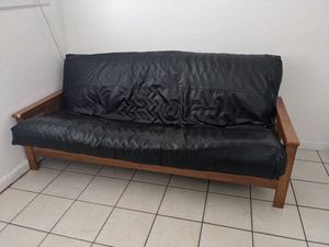 Used wood and fake leather futon for Sale in Fort Lauderdale, FL
