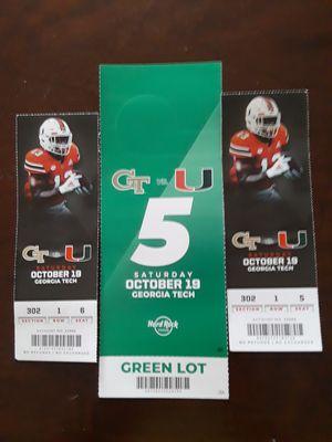 2 UM VS. GT Tickets w/Parking for Sale in Hallandale Beach, FL