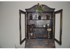 Weathered antique hutch charcoal grey and brown, original hardware and in great condition for Sale in Long Beach, CA