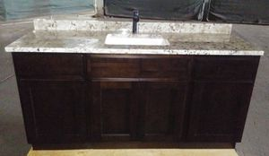 Bathroom Vanity Set 64 Inch / High Grade Granite / New Faucet & Drain / All Plywood / Side splash / All New 😷👍 for Sale in Safety Harbor, FL