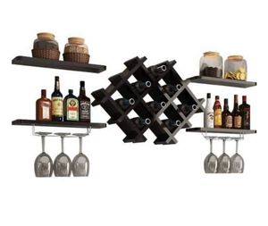Black Wall Mounted Wine Rack Set with Storage Shelves for Sale in Braintree, MA