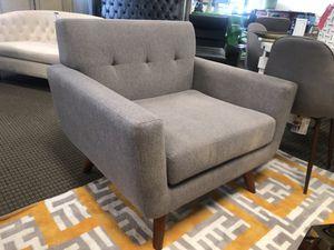 Mid century modern grey velvet engage chair for Sale in Alexandria, VA