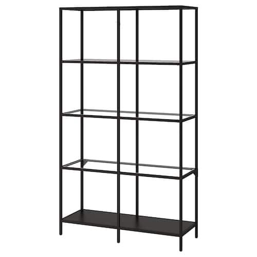 Minimalist black shelf and two coffee tables all in metal