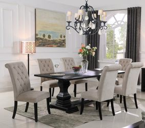 RUSTIC GRAY ANTIQUE BLACK 7 PIECE DINING TABLE PARSON CHAIRS SET / COMEDOR MESA SILLAS for Sale in San Diego,  CA