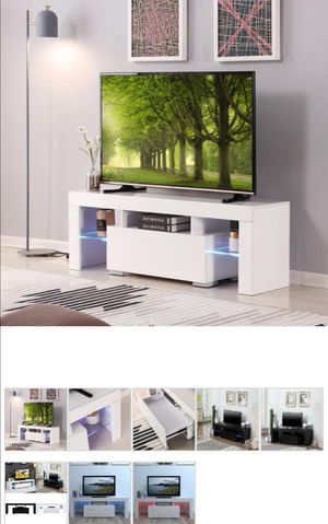 White Tv stand with led lights. for Sale in Edgewater Park, NJ