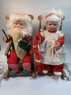 "SANTAS BEST ANIMATED Rocking Chairs MR & MRS CLAUS CHRISTMAS VINTAGE 1993 - 17"" for Sale in Kerman, CA"