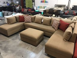 Tan Three Piece Sectional 🏷 for Sale in Hialeah, FL