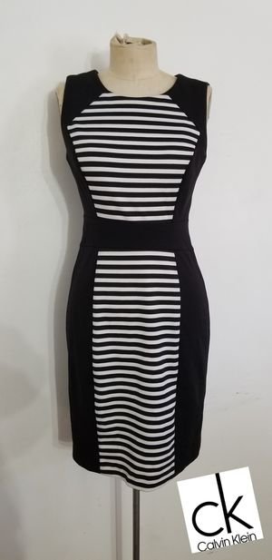 Black and white striped Calvin Klein dress size 2 for Sale in Ontario, CA