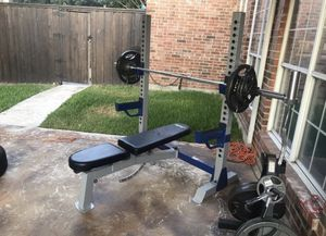 Olympic Weight Bench + weights - 350 LBS,W-tree, curl, clamps etc for Sale in Lucas, TX
