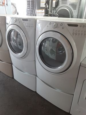 $599 Whirlpool washer dryer set with storage pedestals includes delivering the San Fernando Valley a warranty and installation for Sale in Los Angeles, CA