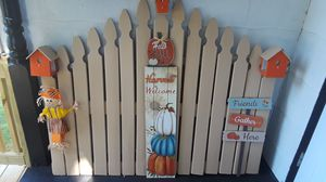 Headboard with 3 small bird house and fall decoration for Sale in Camp Hill, PA