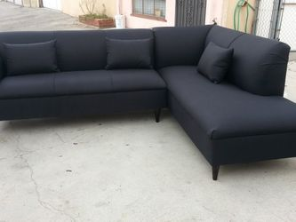 NEW 9X7FT DOMINO BLACK FABRIC SECTIONAL CHAISE for Sale in La Mesa,  CA