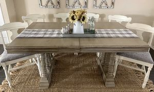 Farmhouse kitchen table and 6 reupholstered chairs for Sale in Rowlett, TX
