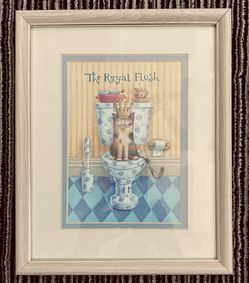 8 X 10 Beige Frame Has 5 X 7 The Royal Flush Cute Photo For Bathroom $6 for Sale in Indianapolis,  IN