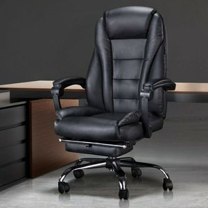 Hbada Ergonomic Executive Office Chair with Footrest, PU Leather Swivel Desk Chair, Recline Extra Padded Computer Chair, Black with Footrest for Sale in Bolingbrook, IL