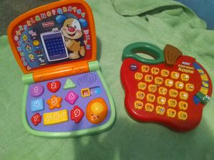 V tech laptop..Fisher Price toddler games and cash register and I pad for Sale in Saint Joseph, MO