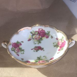 Floral gold dish antique china glassware vintage white floral for Sale in Bethlehem, PA