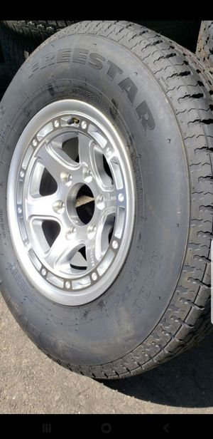 4 New 225/75/15 Trailer Tires 6 Lug Wheels/Rims Aluminum Alloy ST 225-75-15 R15 inch tire load E 10 ply for Sale in Moreno Valley, CA
