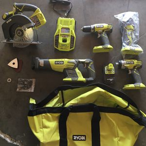 RYOBI 18-Volt ONE+ Lithium-Ion Cordless 6-Tool Combo Kit with (2) 1.5 Ah LITHIUM+ Batteries, Dual Chemistry Charger, and Bag for Sale in Garden Grove, CA