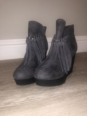 Dark gray wedged booties with fringe for Sale in Visalia, CA