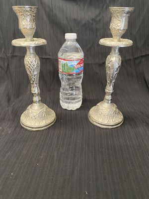 2 silver candle stick holders for Sale in Lake Tapps, WA