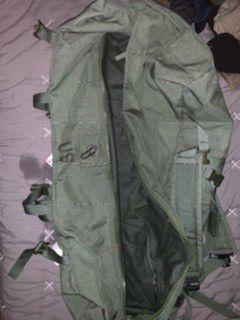 Green duffle bag