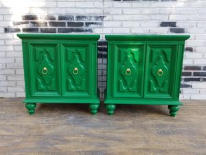 Regency/modern/ retro night stands/side tables. Medow green/ Gold for Sale in Westchester, CA