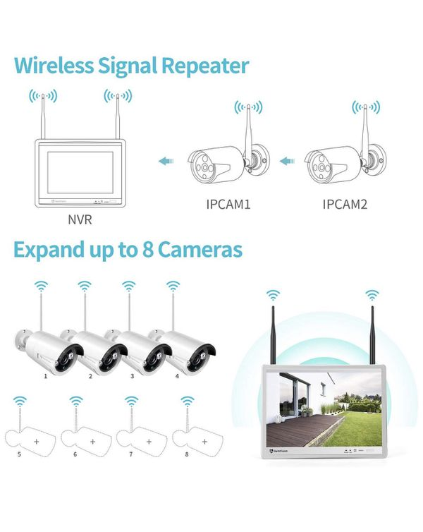 1080P Wireless Security Camera System with 12 inch LCD Monitor, 8CH NVR 4Pcs Outdoor/Indoor WiFi Surveillance Cameras with Night Vision, Waterproof,
