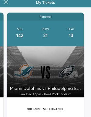 Philadelphia Eagles vs Miami Dolphins for Sale in Boca Raton, FL