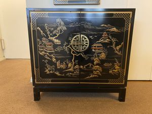 Drexel Heritage Et Cetera Black Lacquer Chinoiserie Cabinet & Mirror for Sale in New York, NY