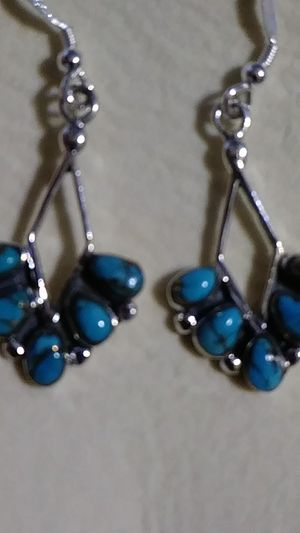 New - Sterling and blue Mohave turquoise 2 inch earrings for Sale in Palmetto, FL